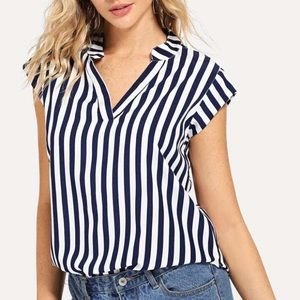 NWOT: SHEIN navy and white striped blouse